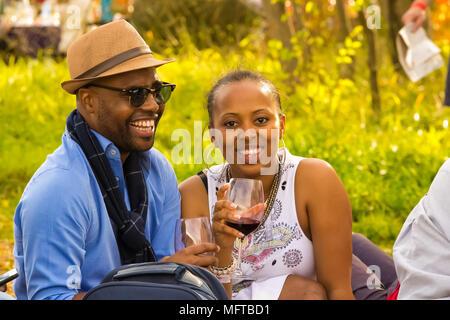 Johannesburg, Südafrika, 05.10.2014, jungen afrikanischen Paar Wein trinken auf dem Gras auf der Winter-Skulptur-Messe in der Nirox Sculpture Park - Stockfoto