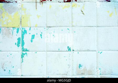 Grunge Keramische Fliesen Wand Hintergrund.   Stockfoto