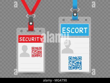 Security Escort vertikale Abzeichen leere Vorlage mit Blau und Rot lanyard auf transparentem Hintergrund. Die Identifizierung ID Card mockup eingestellt - Stockfoto