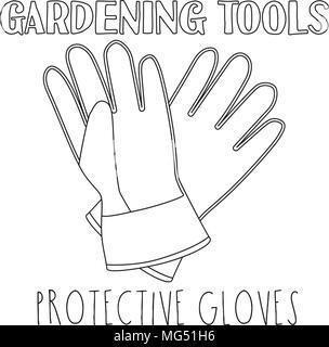Line Art schwarze und weiße Handschuhe. Malbuch Seite für Erwachsene und Kinder. Garten Werkzeug Vector Illustration für Geschenkkarte Zertifikat Aufkleber, - Stockfoto