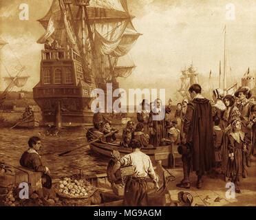 Die Abfahrt der Pilgerväter von der Mayflower im Jahre 1620 markierte den Beginn der religiösen Freiheit in der Neuen Welt. - Stockfoto