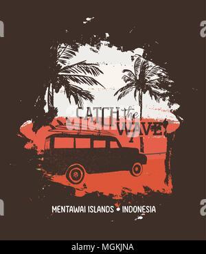 retro van mit einem surf boards oben und palmen. tinte schwarz-weiss zeichnung stockfoto, bild