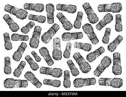 Abbildung: Hintergrund von Hand gezeichnete Skizze der TV-Antenne Stecker oder professionelle Koaxial Kabel-TV Anschlüsse, Anschluss koaxial verwendet - Stockfoto