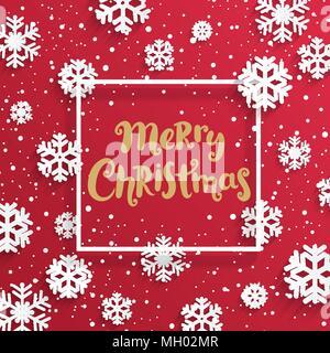 Weihnachtskarte mit Schneeflocken auf rotem Hintergrund. Vector Illustration Banner. - Stockfoto