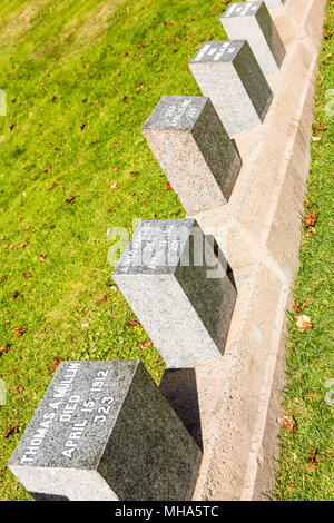 Titanic Friedhof. Platz in der Innenstadt von Halifax in Kanada, wo die Opfer des Schiffbruchs begraben wurden. - Stockfoto