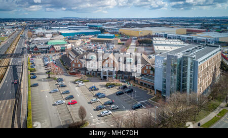 Luftbild des Red Cow Moran Hotel und seinen komplexen. - Stockfoto