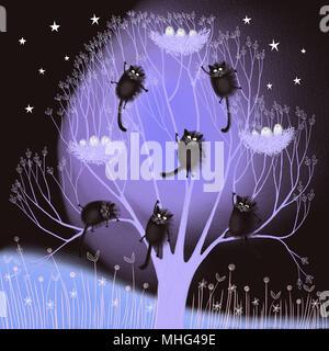 Katzen in einem Baum - Stockfoto
