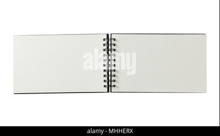 Leer Notebook mit Binder öffnen, auf weißem Hintergrund, Platz für Text, Ansicht von oben, Banner - Stockfoto