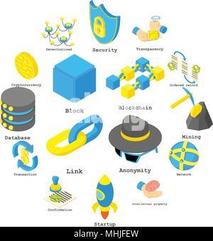 Blockchain crypto Geld Icons Set, isometrische Stil - Stockfoto