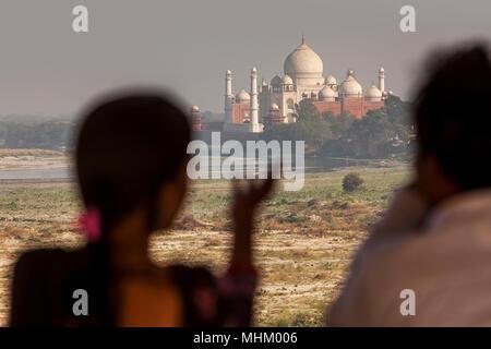 Taj Mahal, UNESCO-Weltkulturerbe, Agra, Uttar Pradesh, Indien - Stockfoto