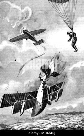 1930 Das Bild eines britischen Doppeldecker abgeschossen durch eine feindliche Flugzeug, - Stockfoto