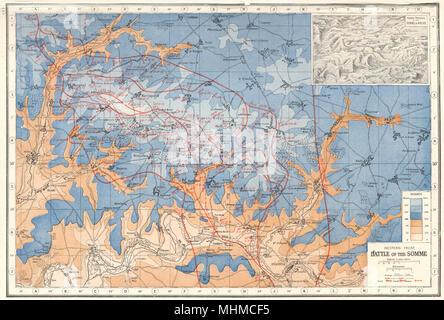 Die Schlacht an der Somme. Kampflinien 1916-17. Natürliche Gräben. Ancre 1920 Karte - Stockfoto