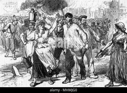 Die randalierer und petroleuses Feuern öffentliche Gebäude in Paris Datum: Mai 1871 - Stockfoto