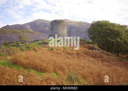 Blick auf Dolbadarn Schloss, in der Nähe von Llanberis in Gwynedd, Wales. Die Burg wurde von den Fürsten von Gwynedd einige Zeit vor 1230 und war bis mindestens 1284 und in den frühen 15. Jahrhundert. Heute nur die untersten Grundlagen des äußeren Gebäude stehen noch. Datum: Oktober 2007 - Stockfoto