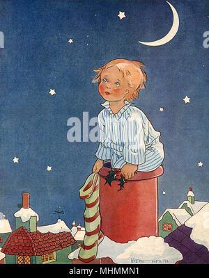 Ein kleiner Junge im gestreiften Pyjama sitzt hoffentlich auf dem Schornstein pot einer schneebedeckten Dach optimistisch warten, Bevorratung und Holly sprig bereit, für die Ankunft des Weihnachtsmannes. Datum: 1930 - Stockfoto