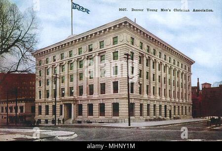 YMCA (Young Men's Christian Association) Gebäude, Denver, Colorado, USA. Datum: ca. 1920 - Stockfoto