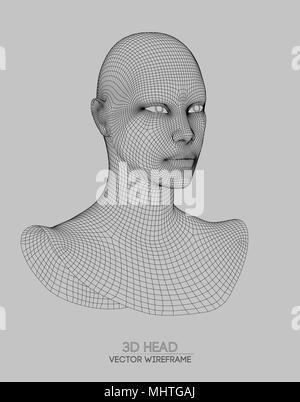 Mann Wireframe 3d Illustration. Kopf und Gesicht Menschenfigur ...