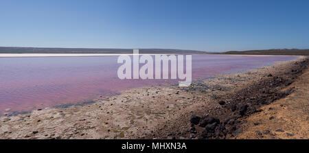 Panoramablick auf die Rosa See (Hutt Lagoon), Port Gregory, Western Australia - Stockfoto
