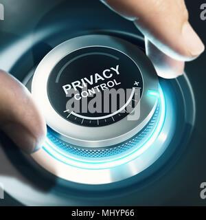Finger drehen einen schwarzen Knopf und Einstellung Privatsphäre auf Max. Das zusammengesetzte Bild zwischen einer hand Fotografie und 3D-Hintergrund. - Stockfoto