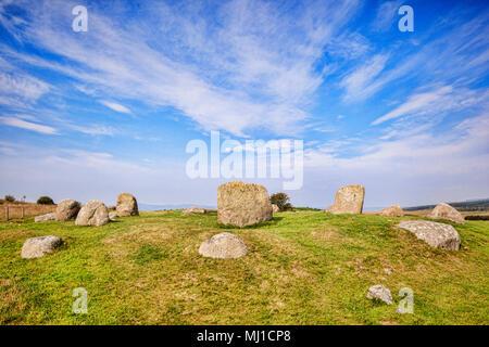 Der Fingal Kessel Stone Circle, einem 4000 Jahre alten Megalith-monument auf machrie Moor auf der Insel Arran, North Ayrshire, Schottland. - Stockfoto