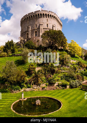 Der Bergfried, runden Turm, Schloss Windsor, Windsor, Berkshire, England, UK, GB. - Stockfoto