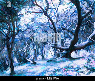 Digitale Kunst: Winter im Wald - Stockfoto