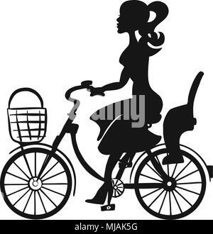 Dame mit dem Fahrrad Witz Korb und Kindersitz, Hand Vektorgrafiken erstellt - Stockfoto