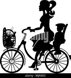 Frau mit Baby Kind auf Fahrrad, skizziert Hand Vektorgrafiken erstellt - Stockfoto