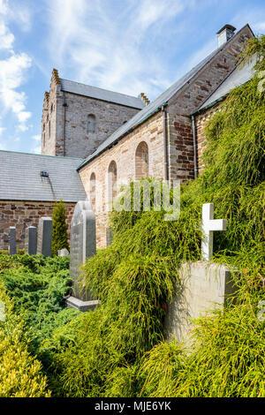 Die Aa Kirke in Aakirkeby (12. Jahrhundert), Europa, Dänemark, Bornholm, - Stockfoto