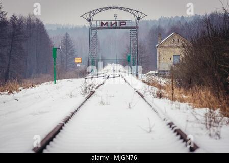Über Swislocz polish-belarusian Grenze Fluss Mostowlany ...