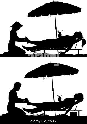 Editable vector Silhouetten von ein Mann und eine Frau am Strand Ferienhäuser, eine Fußmassage mit Zahlen als separate Objekte - Stockfoto