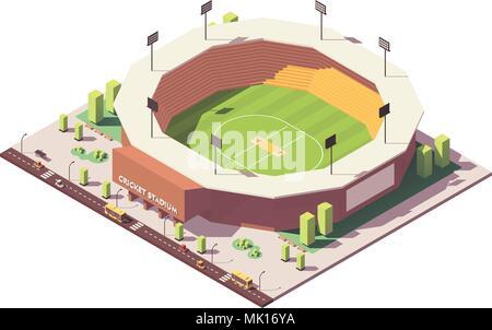 Vektor isometrische Low Poly Cricket Stadion