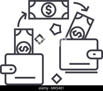 Zahlungstransaktion vektor Symbol Leitung, Zeichen, Abbildung auf Hintergrund, editierbare Anschläge - Stockfoto