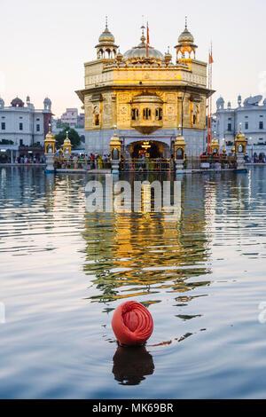 Amritsar, Punjab, Indien: ein Sikh Mann nimmt ein heiliges Bad an der Amrit Sarovar (Pool von Nektar) der Goldene Tempel beleuchtet in der Abenddämmerung. - Stockfoto