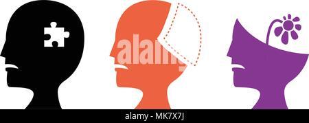 Einstellen der Alzheimer Krankheit Symbole, vector art design - Stockfoto