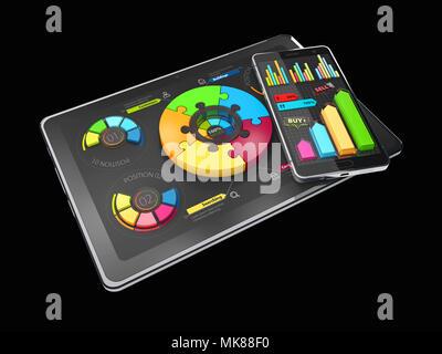 3D-Darstellung der Kreativen bunten Kreisdiagramm auf dem Tablett, Geschäftskonzept, isolierte schwarze. - Stockfoto
