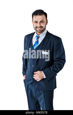 Mann in Uniform auf weißem Hintergrund - Stockfoto