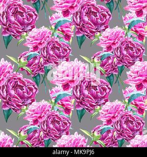 Nahtlose Hintergrund mit Pfingstrose Blüten. Aquarell Abbildung. Grafik Hand gezeichnet floralen Muster. Textil Design. - Stockfoto