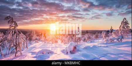 Panoramablick auf die wunderschöne Winterlandschaft Landschaft im schönen goldenen Abendlicht bei Sonnenuntergang mit Wolken in Skandinavien, Nordeuropa - Stockfoto