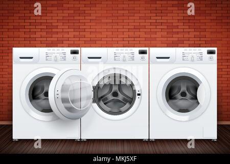 Waschküche mit Waschmaschinen auf Red brick wall Hintergrund. Das Konzept der moderne Geräte für Home Wäsche- und Haushaltsgeräte. V - Stockfoto