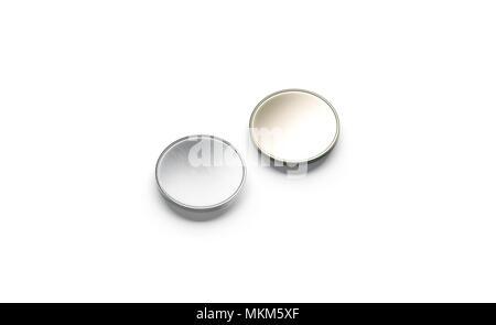 Leere Silber und Gold Münze mock up, isoliert, 3D-Rendering. Leer Stück Geld Mockup, Seitenansicht. Klar wertvolle Shiner liegende Vorlage - Stockfoto