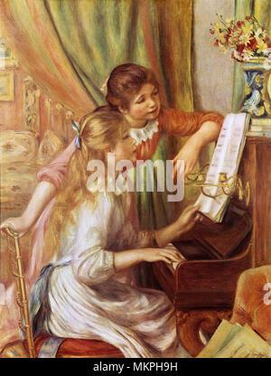 Zwei Mädchen am Klavier - Stockfoto