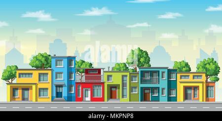 Abbildung: Farbenfrohe, moderne Haus mit Bäumen - Stockfoto