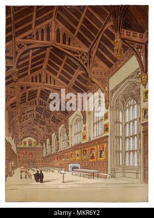 Der große Speisesaal der Kirche Christi, ist ein konstituierendes College der Universität Oxford in England. Christ Church ist eine gemeinsame Stiftung der Hochschule und die Kathedrale der Diözese von Oxford, die in der Kapelle des Kollegs und deren Dekan ex officio die Hochschule Kopf dient. 1531 die Hochschule wurde unterdrückt, aber es war im Jahre 1532 wiedergegründet, als König Henry VIII. College von Henry VIII. 1546 König, neu gegründet die Hochschule als Christus Kirche als Teil der Reorganisation der Kirche von England. - Stockfoto