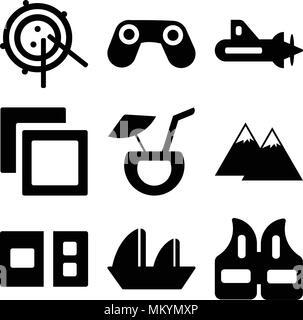 Satz von 9 einfache editierbare Ikonen wie Schwimmweste, Segelboot Segeln, Postkarte, Pyramiden, Cocktail Coconut, Polaroids, U-Boot mit Propeller, Big Bin - Stockfoto