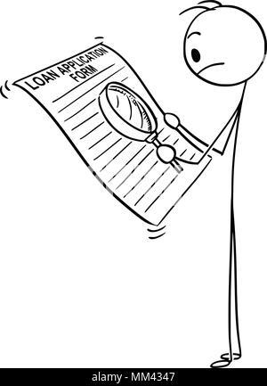 Cartoon von Mann oder Geschäftsmann lesen Kreditvorlage-form mit Lupe - Stockfoto