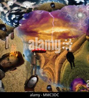 Fantasy surreale Szene. Mann mit dem roten Regenschirm, Glühbirnen symbolisiert Ideen. Auge Gottes im Himmel. 3D-Rendering. - Stockfoto