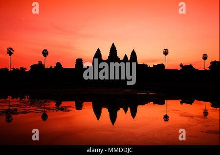 Film scannen, Tempel Angkor Wat in Kambodscha. ist die größte hinduistische Tempelanlage und religiöse Monument der Welt - Stockfoto