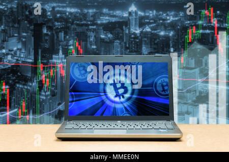 Bitcoin trading exchange Börse investment, forex mit Trend der Graph, Preis und Candle stick Chart, 3D-Darstellung der Lager crypto Währung ein - Stockfoto