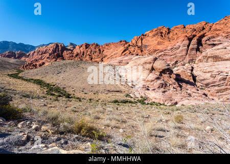 Desert Vegetation und bunten Felsformationen in der Red Rock Canyon National Conservation Area außerhalb von Las Vegas, Nevada - Stockfoto